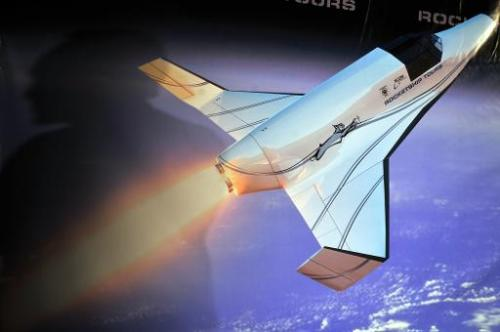 Virtual photo of XCOR Aerospace's Lynx during a press conference in Beverly Hills, California, on December 2, 2008