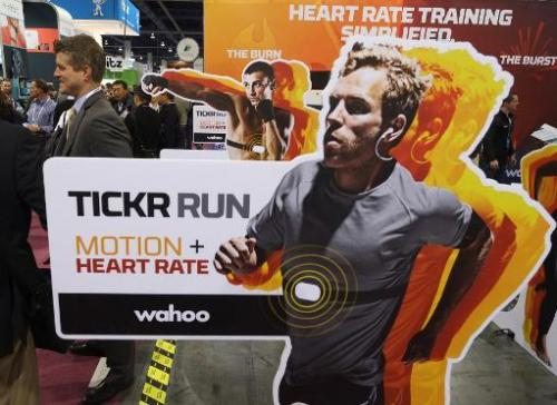 Wahoo health monitors shown during the 2014 International CES at the Las Vegas Convention Center on January 8, 2014 in Las Vegas