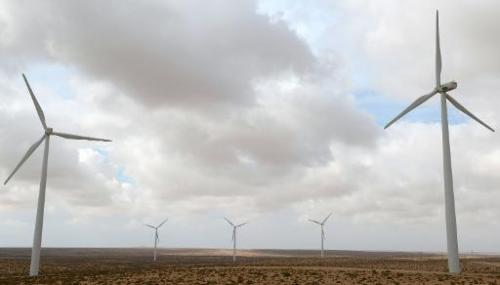 Wind turbines are seen at the Tarfaya wind farm in southwestern Morocco on May 14, 2013