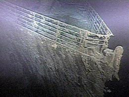 The bow of the RMS Titanic lies on the bottom of the Atlantic Ocean off the coast of Newfoundland, Canada