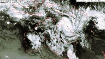 University of Leicester releases stunning satellite imagery of cyclone Yasi from space