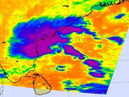 NASA satellites see heavy rainfall and displaced thunderstorms in System 94B