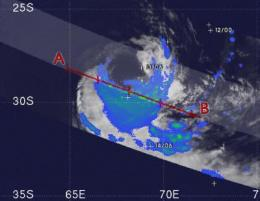 NASA satellite sees Tropical Storm Edzani becoming extra-tropical
