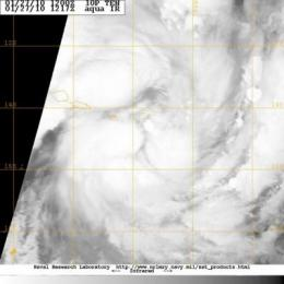 NASA satellite sees Tropical Depression 10P Strengthening in south Pacific