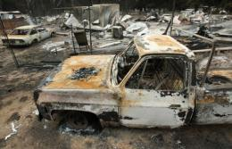 File photo shows the township of Flowerdale, near Melbourne, in ruins following devastating bushfires