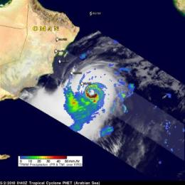 NASA satellites see monster Cyclone Phet slamming northeastern Oman today