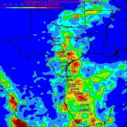 TRMM satellite measures Hermine's severe Texas rainfall from space