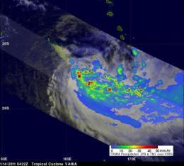 NASA satellite: Tropical Storm Vania brought heavy rains to southeastern New Caledonia
