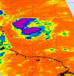 NASA infrared data sees convection building in Fiona's clouds