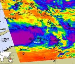 NASA Satellite catches a tropical cyclone forming near Darwin, Australia