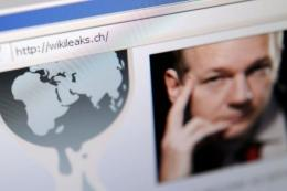 The homepage of Wikileaks.ch with a picture of its founder Julian Assange