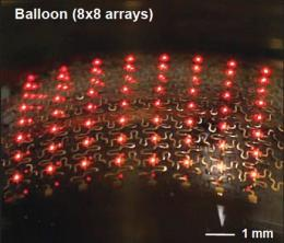 Flexible LEDs for implanting under the skin