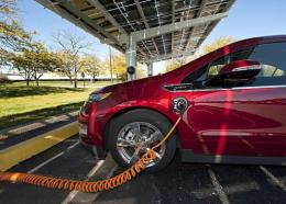A Chevrolet Volt electric vehicle seen here October 7 charging at a solar-powered charging station