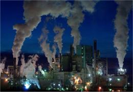 Aerosol particles form from coal-fired power plants