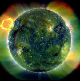 A full-disk multiwavelength extreme ultraviolet image of the sun taken by the Solar Dynamics Observatory (SDO)