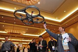 An AR. Drone helicoptor at the International Consumer Electronics Show
