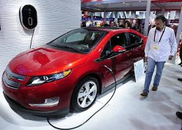 An attendee looks GE's new Residential WattStation plugged into a Chevrolet Volt electric car