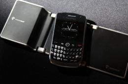 A Presenter device is plugged into a projector and then controlled wirelessly by a BlackBerry.