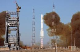 A Proton-M rocket, carrying the Russian Glonass-M satellites, blasts off