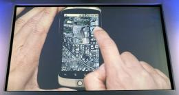 A screen shot of the Google Earth application on the Google Nexus One smartphone