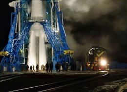 A Soyuz space craft is seen at the launch pad of Plesetsk cosmodrome in 2004