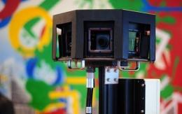 A special camera of Google is pictured during a press conference in Germany on November 18