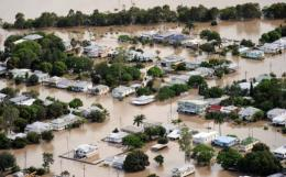 A suburb of Rockhampton is submerged after the swollen Fitzroy River broke its banks