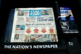 A USA Today newspaper is seen on a stand