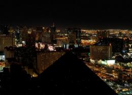 A view of the darkened Las Vegas Strip during Earth Hour in 2010
