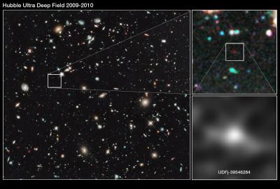 Distant galaxy born in the dawn of time