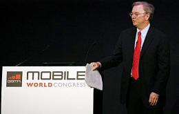Eric Schmidt gives a speech during the Mobile World Congress in Barcelona
