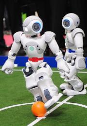 Football-playing robots at the world's biggest high-tech fair, the CeBIT