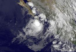 GOES-11 catches quick birth of Tropical Storm Georgette already moving into Baja California