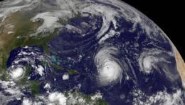 GOES-13 sees a weaker Hurricane Julia in the 'tropical trio'