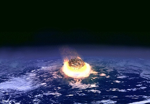 Illustration of an asteroid impact.