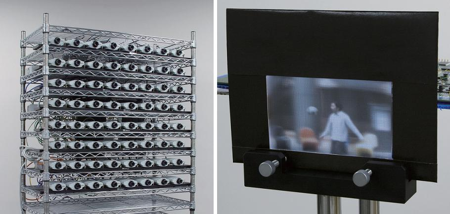 The live 3D TV system consists of (left) an array of 64 cameras that