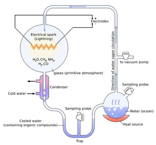 Схема эксперимента, проведенного С. Л. Миллером.  В какой-то момент на Земле начала скапливаться вода...