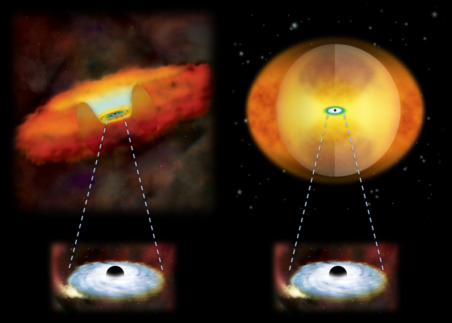 Giant black holes revealed in the nuclei of merging galaxies