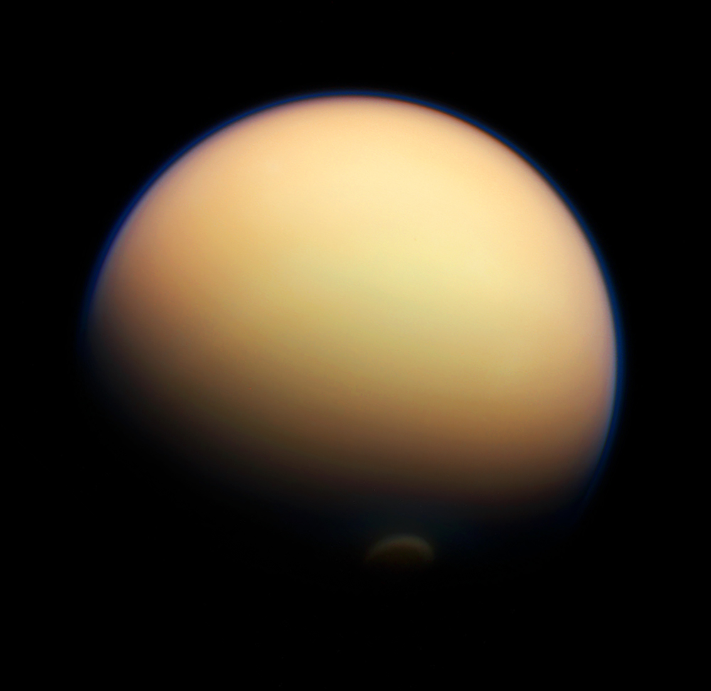 titan shines in latest cassini shots