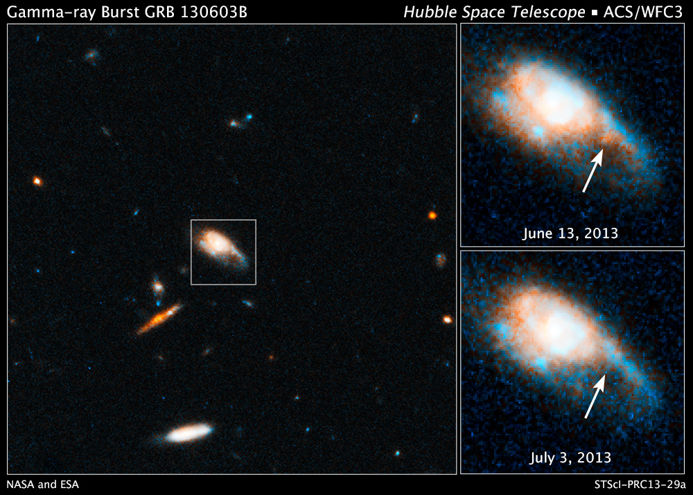 hubble finds telltale fireball after gamma ray burst