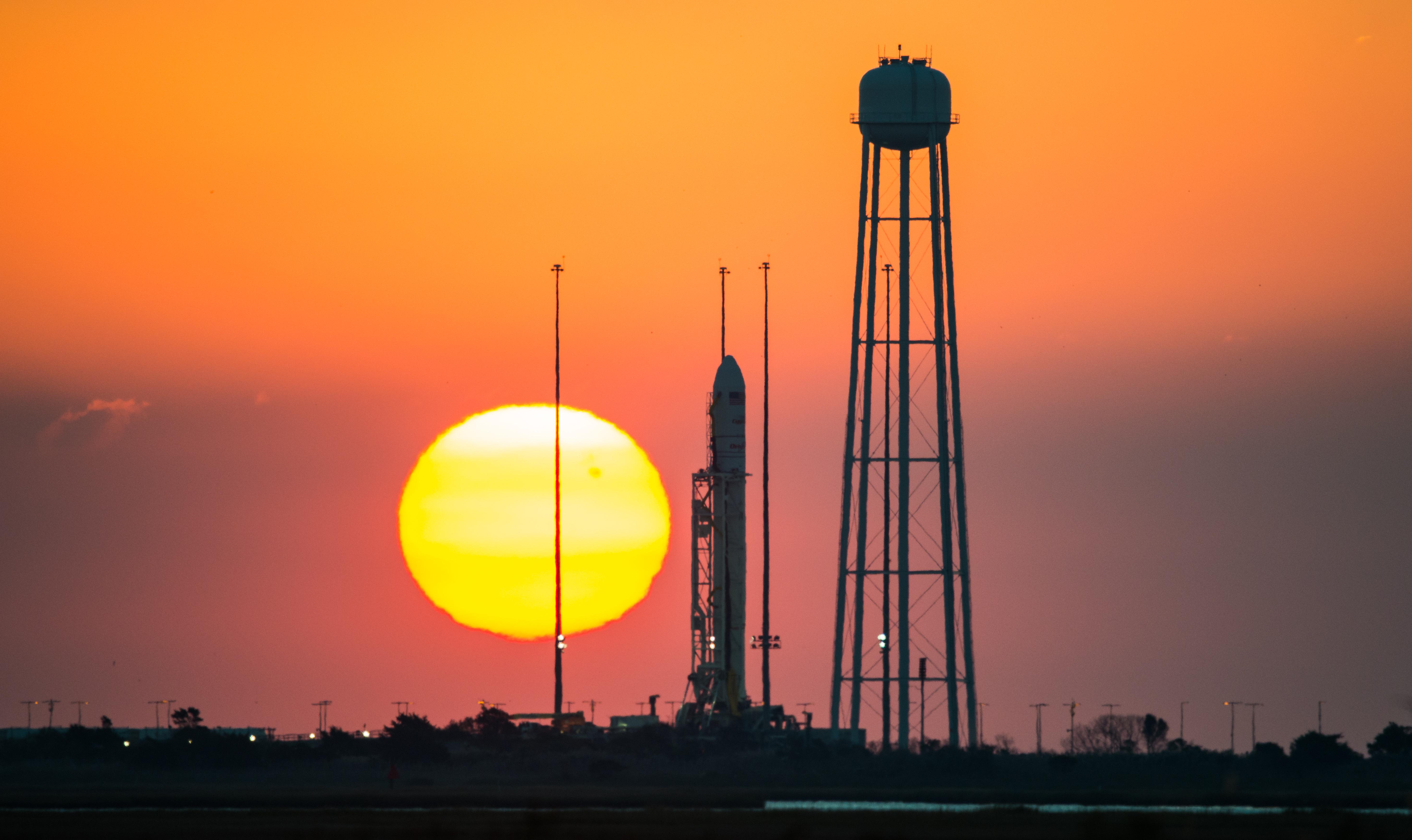 NASA image: Antares rocket at sunrise