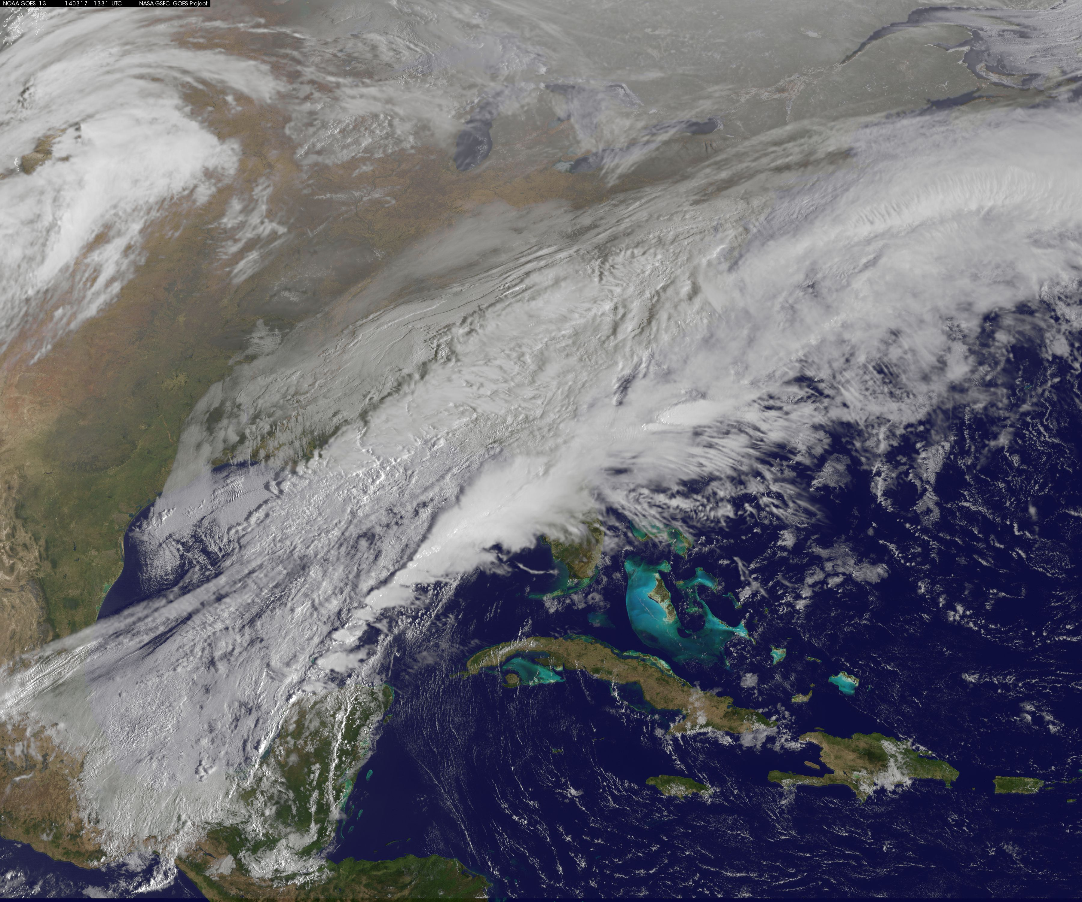 Mid-Atlantic on March 16 and 17. Credit: NASA/NOAA GOES Project