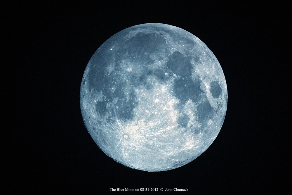 An artificially created 'blue moon,' using the white balance ...