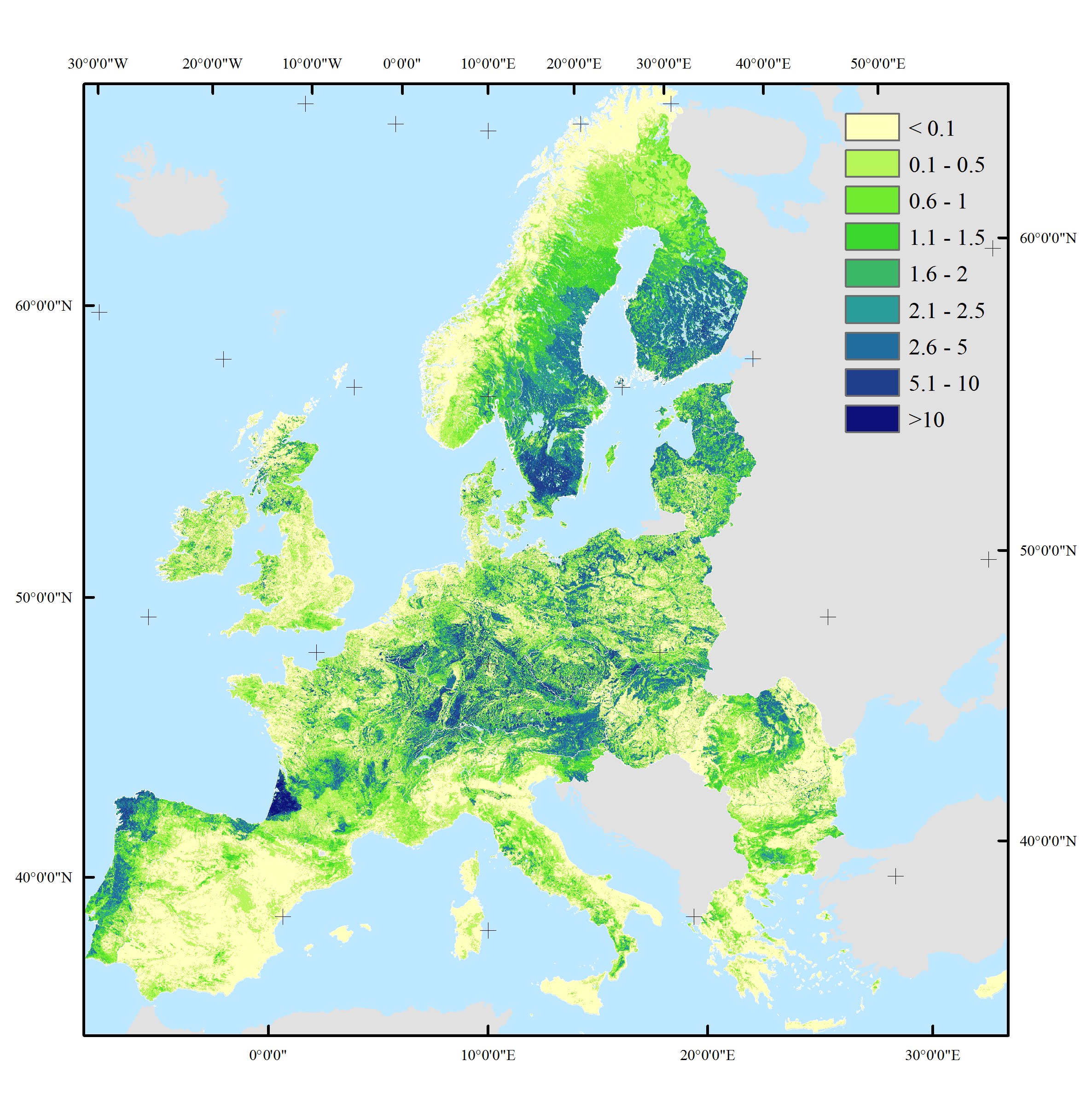 Mapping wood production in European forests