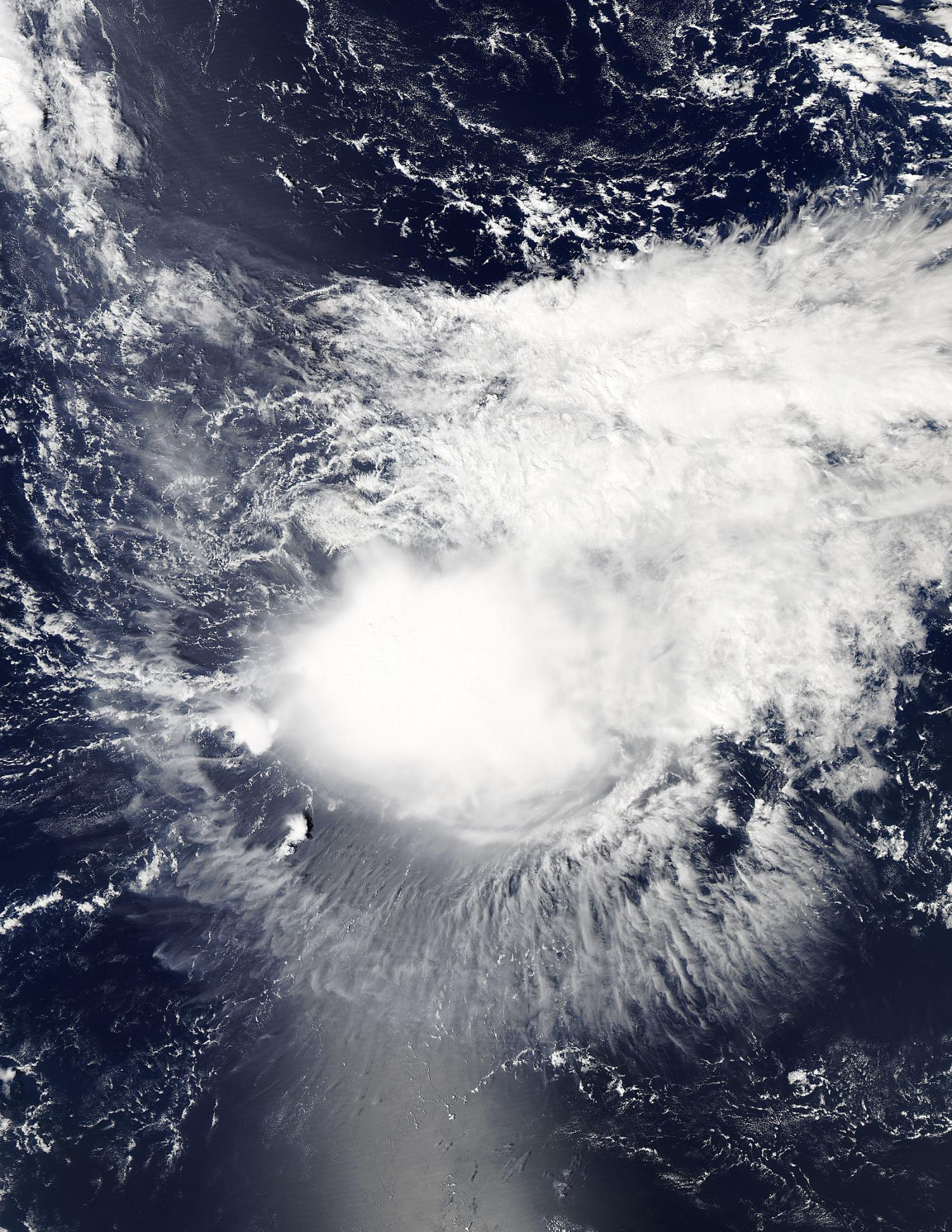 Aqua captured a visible image of a somewhat shapeless Tropical Storm ...