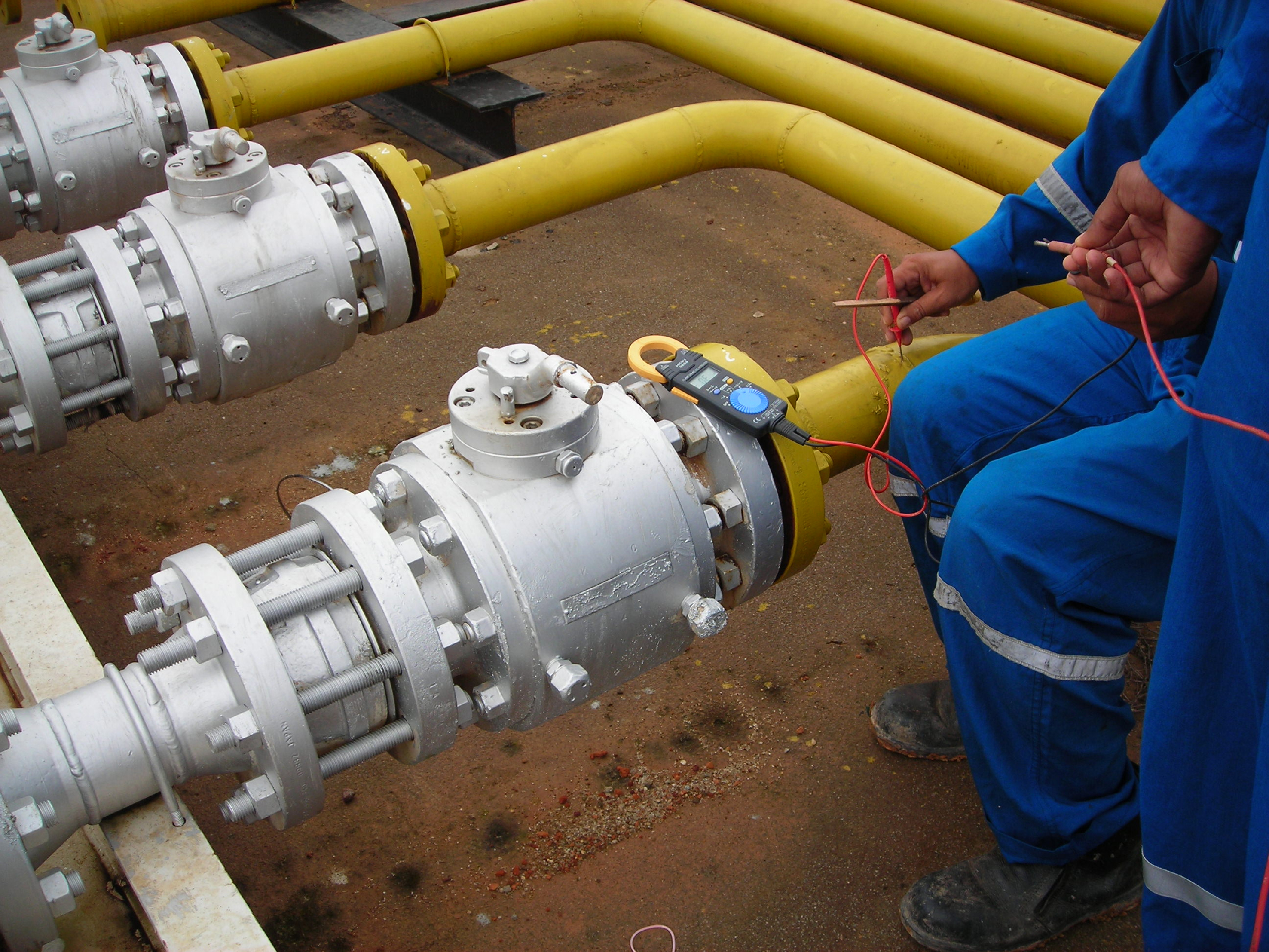 Testing Natural Gas Line For Leaks In Distribution Facility