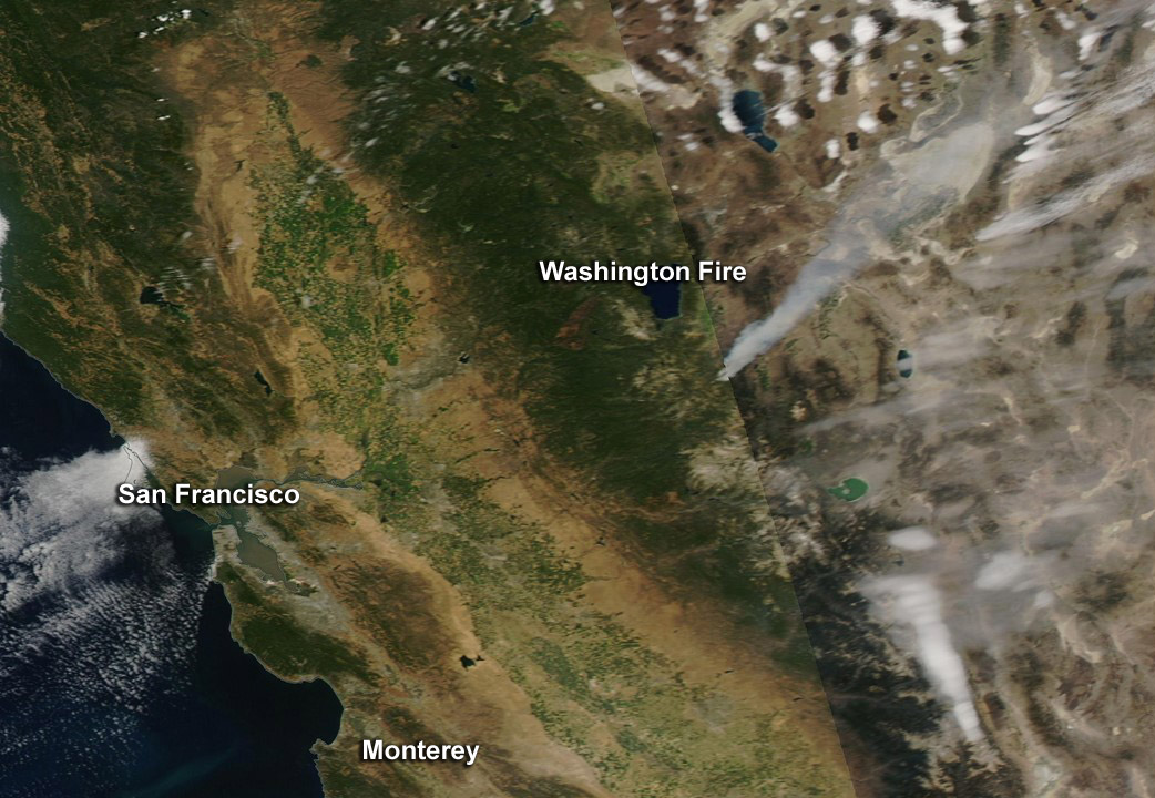 NASA image: Washington wildfire in California