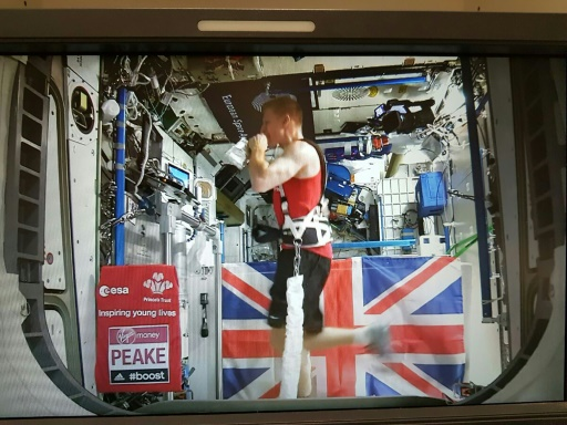 European Space Agency astronaut Tim Peake runs on the International Space Station's treadmill on April 24, 2016  Read more at: http://phys.org/news/2016-04-uk-astronaut-tim-peake-marathon.html#jCp