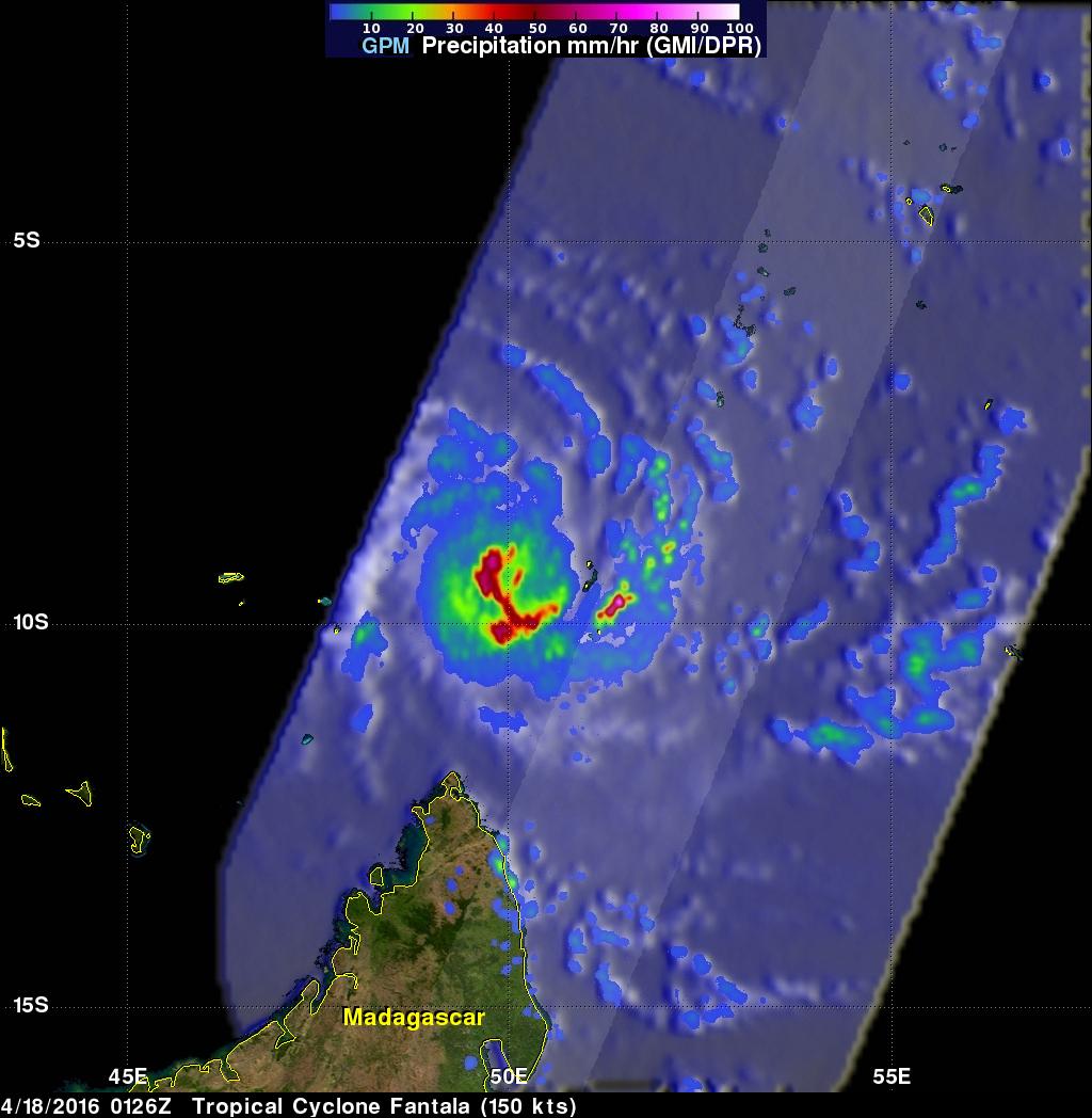 NASA's 3-satellite view of powerful Tropical Cyclone Fantala