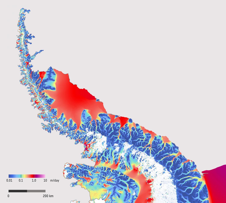 Карта скоростей ледников на Антарктическом п-ове по данным Sentinel-1 SAR